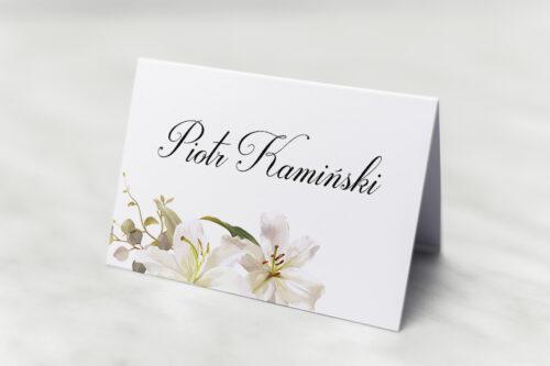 Winietka ślubna do zaproszenia Jednokartkowe Recyklingowe – Eleganckie lilie