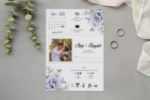 zaproszenie ślubne z biało błękitnymi różami