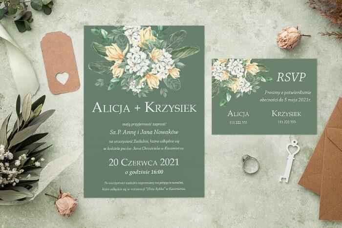 zaproszenie ślubne i rsvp zielone bukiet kwiatów