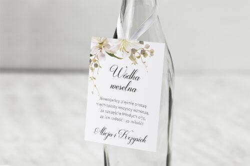 Zawieszka na alkohol do zaproszenia Jednokartkowe Recyklingowe – Eleganckie lilie