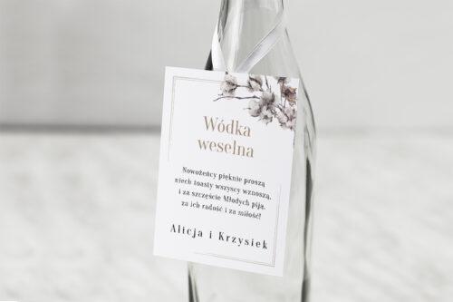 Zawieszka na alkohol do zaproszenia Jednokartkowe Recyklingowe – Kwiaty bawełny