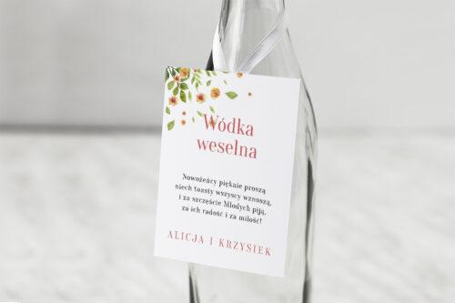 Zawieszka na alkohol do zaproszenia Jednokartkowe Recyklingowe – Rozrzucone kwiaty