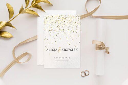 Zaproszenie ślubne Minimalistyczne ze złotem - wzór 9