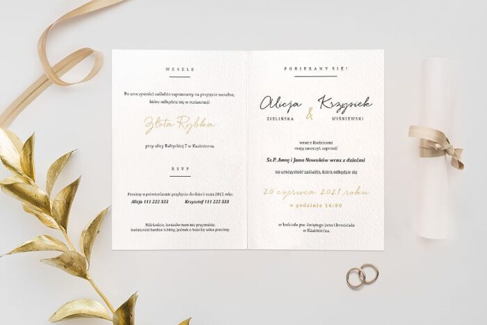 Zaproszenie ślubne Minimalistyczne ze złotem - wzór 3