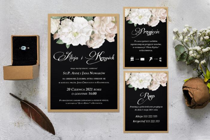 zaproszenie ślubne z podkładką i białymi kwiatami z rsvp i dodatkową karteczką