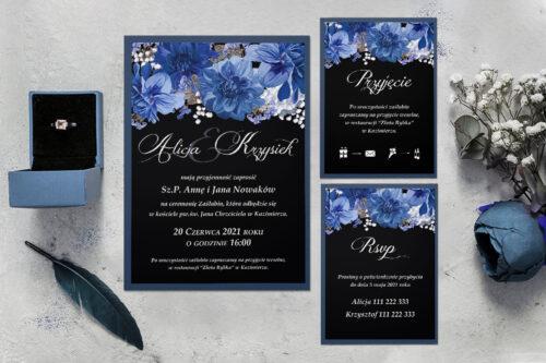 zaproszenie ślubne z podkładką i niebieskimi kwiatami