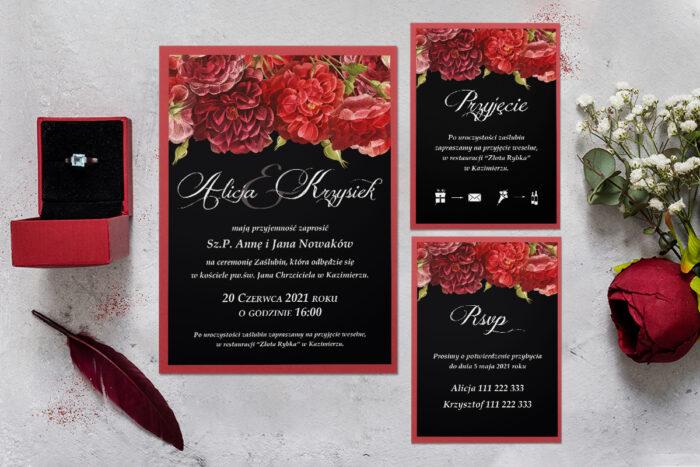 zaproszenie ślubne z podkładką i czerwonymi kwiatami