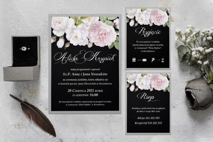 zaproszenie ślubne z podkładką i kwiatami