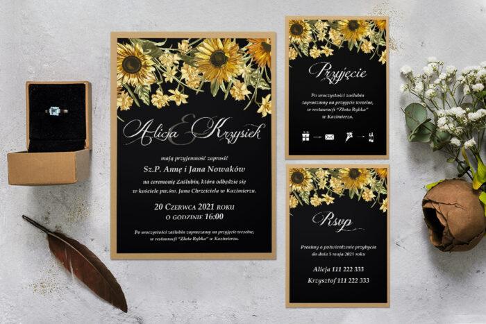 zaproszenie ślubne z podkładką i słonecznikami