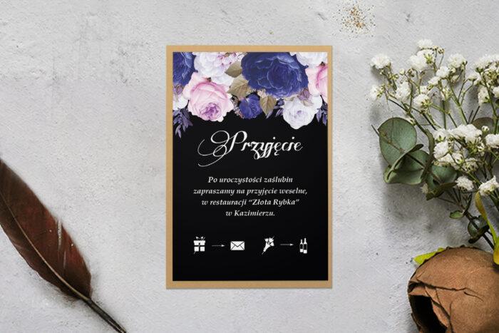 dodatkowa karteczka z podkładką i niebiesko białymi kwiatami