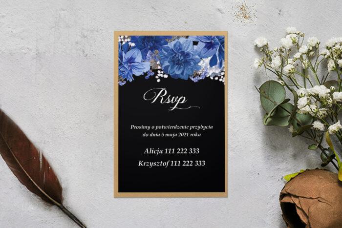 rsvp z podkładką i niebieskimi kwiatami