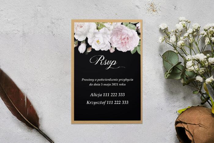rsvp z podkładką i kwiatami