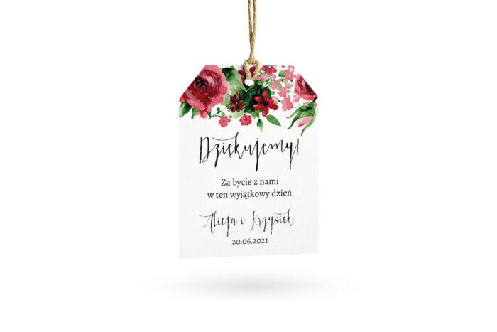 etykietka biała z burgundowymi różami