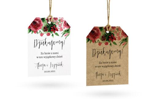 etykietka eco i biała z burgundowymi różami
