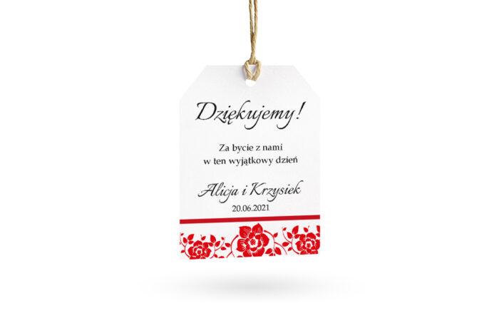 etykietka biała czerwona