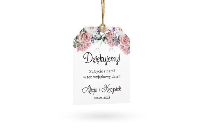 etykietka biała w pastelowe róże