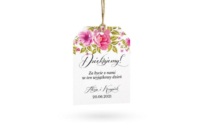 etykietka biała w róże