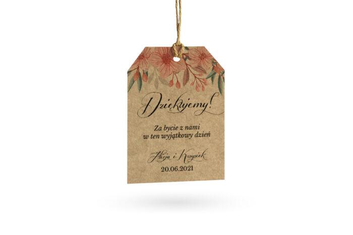 etykietka eco w pudrowe kwiaty