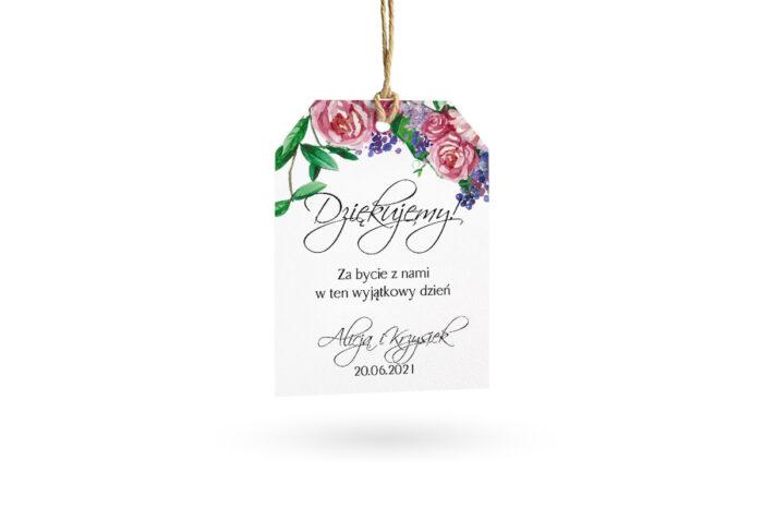 etykietka biała w kwiaty