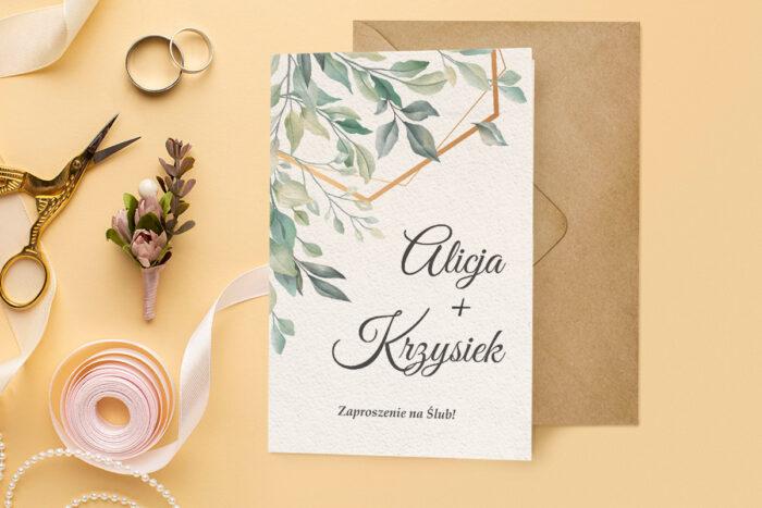 zaproszenie ślubne harmonijka z bukietem liści