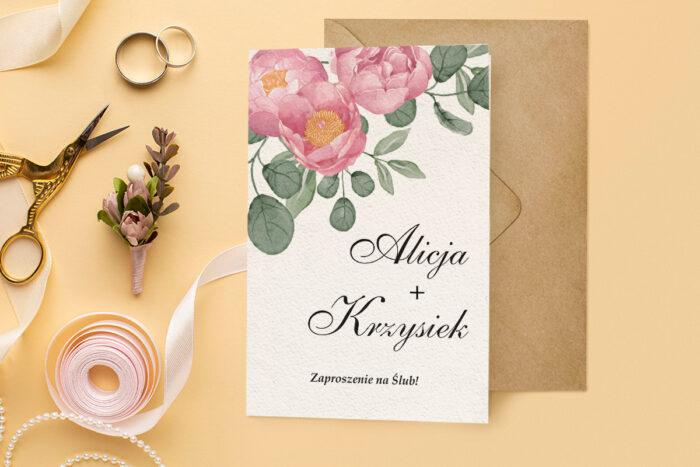 zaproszenie ślubne harmonijka z różowymi kwiatami