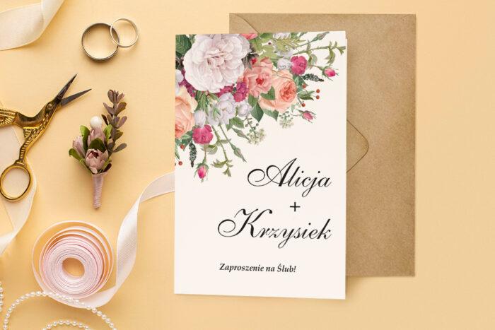 zaproszenie ślubne harmonijka z bukietem kolorowych kwiatów