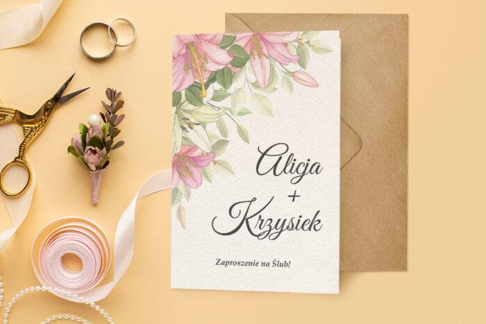 zaproszenie ślubne harmonijka różowe lilie