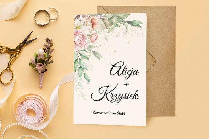 zaproszenie ślubne harmonijka z bukietem pastelowych kwiatów