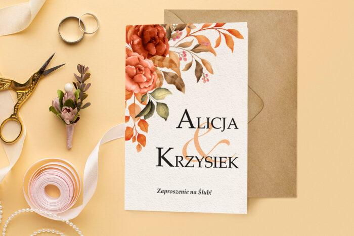 zaproszenie ślubne harmonijka z bukietem jesiennych kwiatów