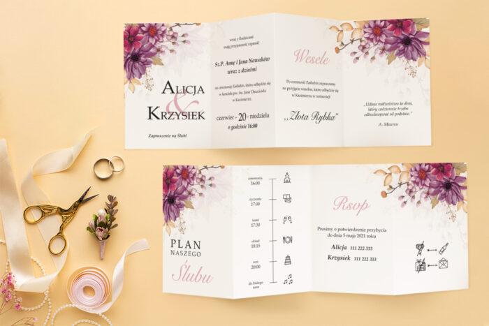 zaproszenie ślubne harmonijka z bukietem kwiatów
