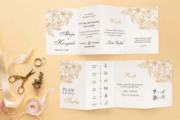 zaproszenie ślubne harmonijka z złotymi kwiatami