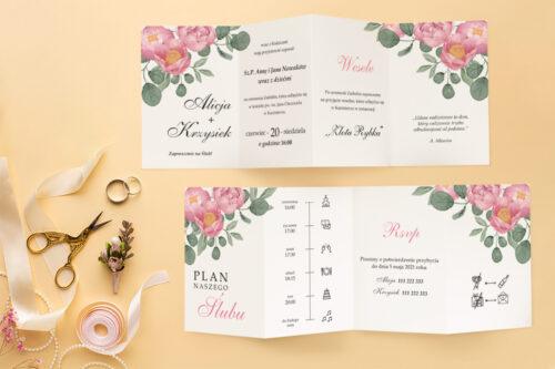 Zaproszenie ślubne Harmonijka - Kwiatowa Kompozycja - wzór 9