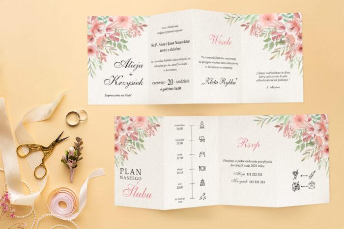 zaproszenie ślubne harmonijka z bukietem różowych kwiatów