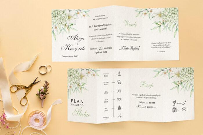 zaproszenie ślubne harmonijka z bukietem subtelnych kwiatów