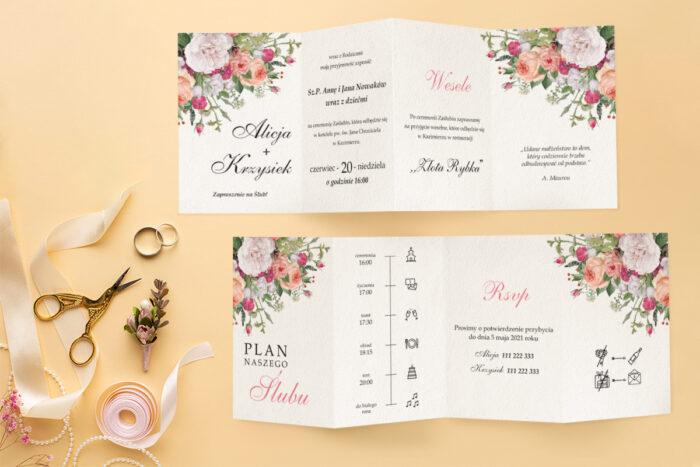 zaproszenie ślubne harmonijka z bukietem kolorowym kwiatów