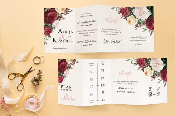 zaproszenie-slubne-harmonijka-kwiatowa-kompozycja-wzor-5-papier-satynowany-koperta-c6-eco-bez-wklejki