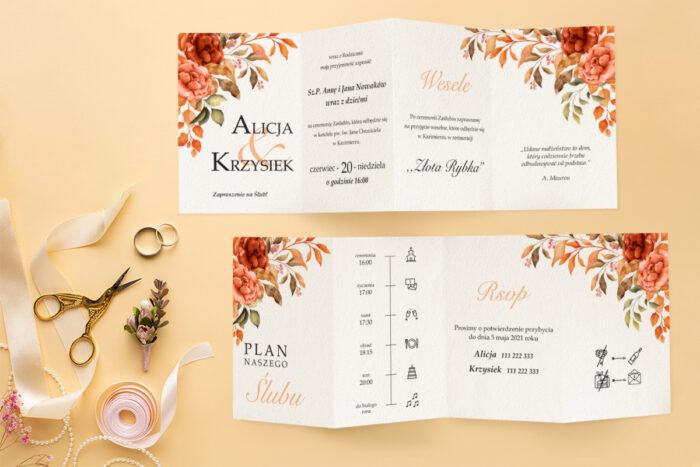 zaproszenie-slubne-harmonijka-kwiatowa-kompozycja-wzor-7-papier-satynowany-koperta-c6-eco-bez-wklejki