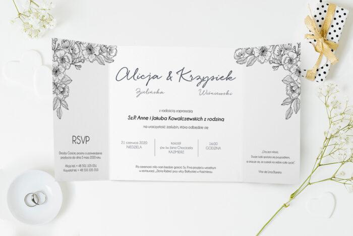 zaproszenie ślubne czarno białe kwiaty