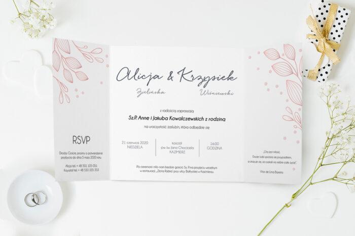 zaproszenie ślubne różowe gałązki