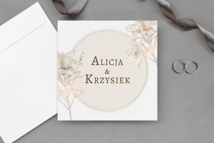 zaproszenie ślubne złote kwiaty