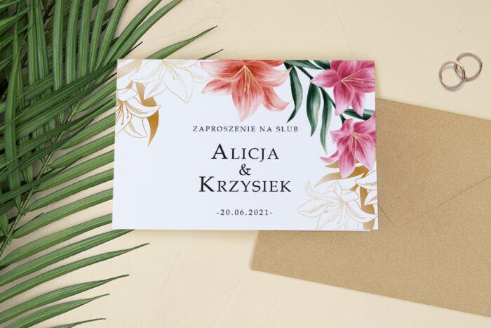 zaproszenie ślubne harmonijka z kwiatami
