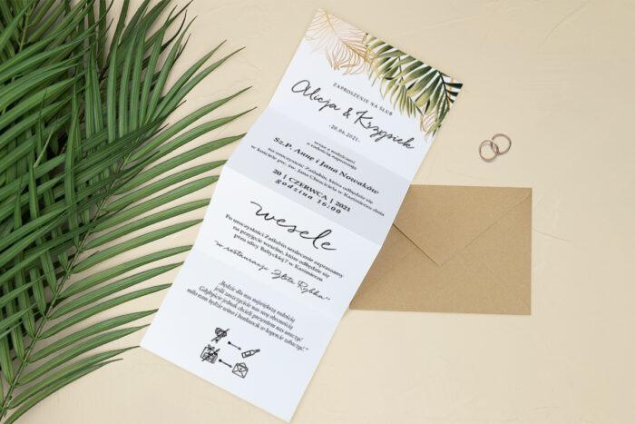 zaproszenie ślubne harmonijka liście paproci