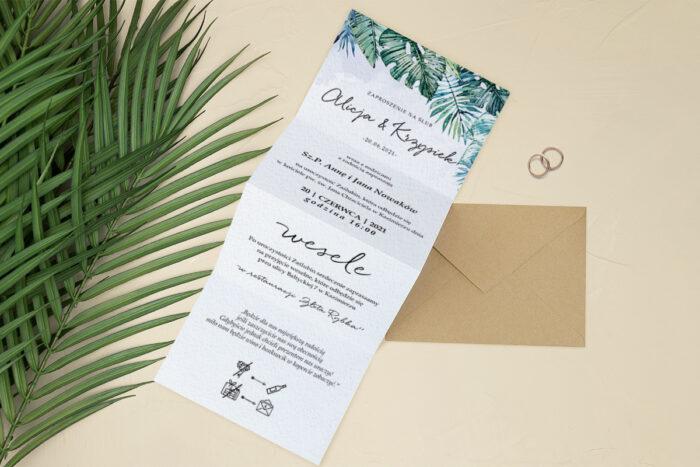 Zaproszenia-Tropikalne-Harmonijka-front-wzor-2