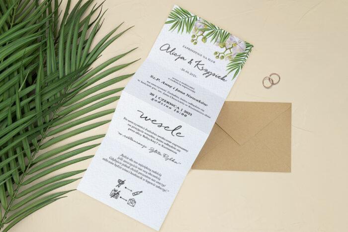 zaproszenie ślubne harmonijka storczyk