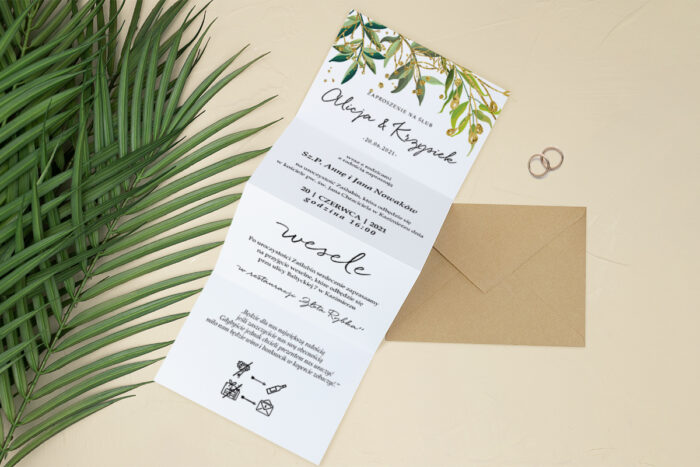 zaproszenie ślubne harmonijka listki ze złotem