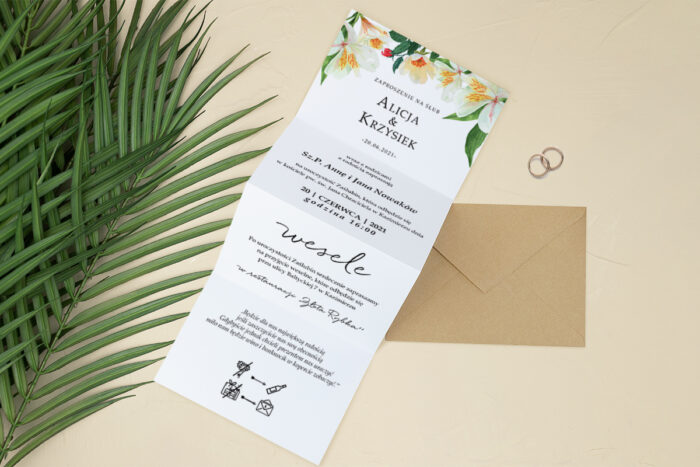 zaproszenie ślubne harmonijka białe kwiaty
