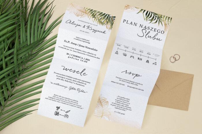 zaproszenie ślubne harmonijka z kwiatami paproci