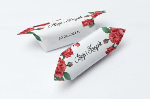 Krówki ślubne 1 kg - Czerwone róże