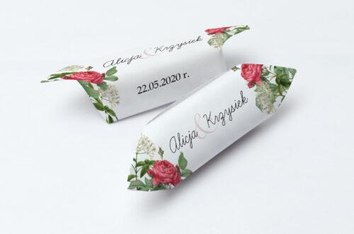 Krówki ślubne 1 kg do zaproszenia Kwiaty Vintage – wzór 16