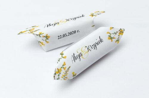 Krówki ślubne 1 kg do zaproszenia Kwiaty Vintage – wzór 3